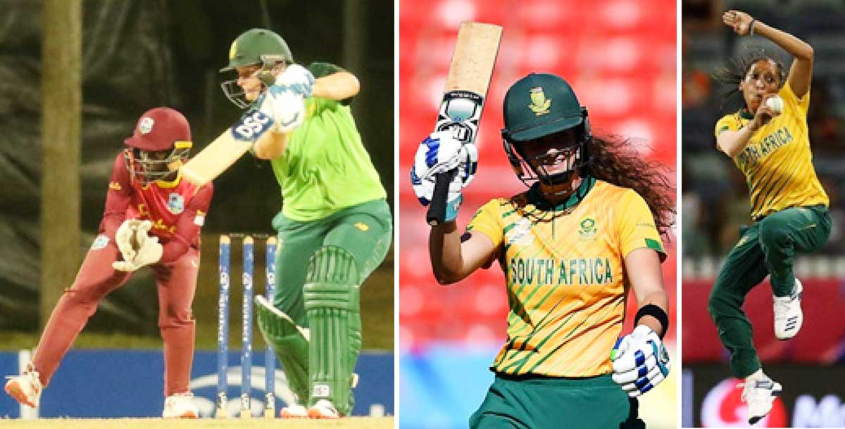 (L-R) South Africa captain Lizelle Lee top scored with 78 not out, Laura Wolvaardt acknowledges her half century and Shabnim Ismail picked up 3 for 31 (Photo: CWI/AFP/GI)