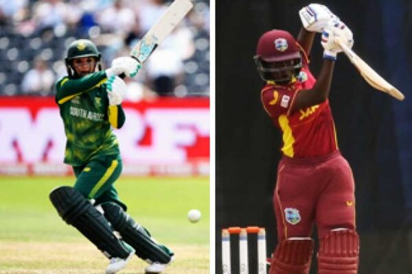 (L-R) Mignon du Preez top scored for South Africa (65), West Indies Rashada Williams top scored with (42) and Cherry Ann Fraser celebrate her first wicket on debut. (Photo: Getty Images/ CWI)