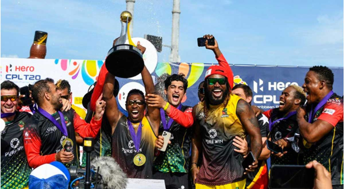 Saint Kitts and Nevis Patriots celebrates CPL title victory. (Photo: Randy Brooks/ CPL)