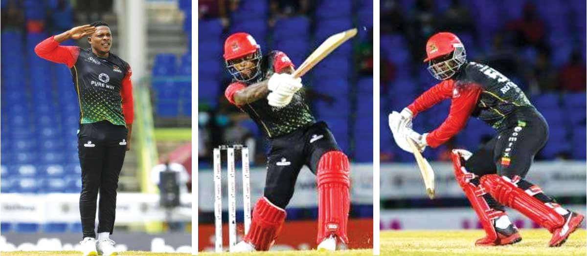 (L-R) Saint Kitts and Nevis Patriots, Sheldon Cottrell, Fabian Allen and Sherfane Rutherford. (Photo: GI)