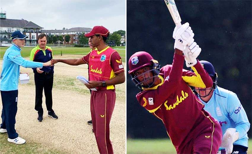 (L-R) The two captains knock fists after the toss, Teddy Bishop top scored for the West Indies with 97 not out. (Photo: GI)