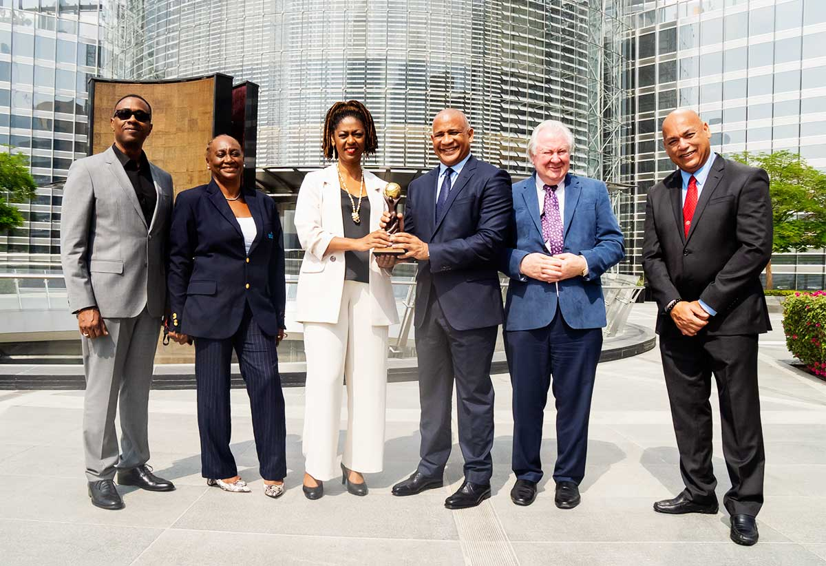 [L-R]    Lorne Theophilus - President of Citizenship by Investment (CIP), Maria Hunte - Representative of SLTA at Expo Dubai, Donalyn Vittet - Permanent Secretary, Ministry of Tourism, Hon.  Dr. Ernest Hilaire - Minister of Tourism, Graham Cooke- Founder & President of World Travel Awards & Lyndon Arnold - President of Invest Saint Lucia