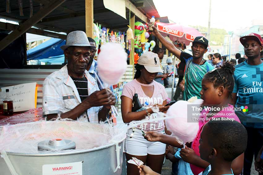 Cotton candy, a popular Asou Square treat, never goes out of style and taste.