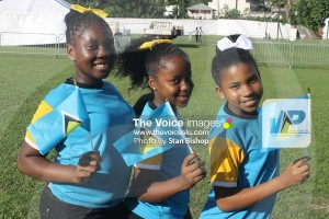 These flag girls from Ave Maria Girls Primary were all smiles in demonstrating their patriotism.