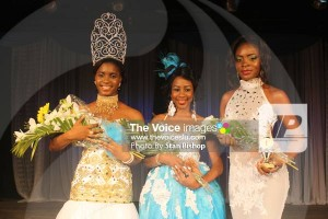 Miss Independence 2016, Akina Randolph (left) with first runner-up, Lisa Eugene (centre) and Tara Gonzague (right).