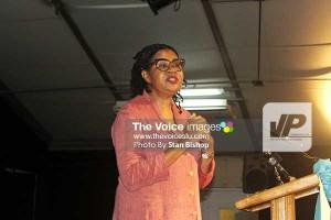 Novelist Jamaica Kincaid delivering the Sir Derek Walcott Lecture.