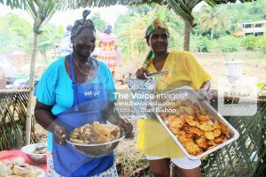 These women made a delicious breadfruit and saltfish and akras for breakfast.