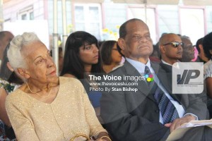 Former Saint Lucia Arts Guild member, Ruth Theobalds, and Chair of the Walcott Place Fundraising Committee, Sir Julian R. Hunte. [PHOTO: Stan Bishop]
